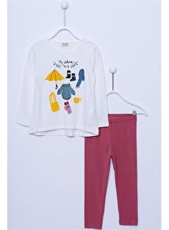 Silversun Kids T Shirt Tayt Takım Örme Uzun Kollu Baskılı Tişört Tayt Takım Kız Çocuk !Kt 210413